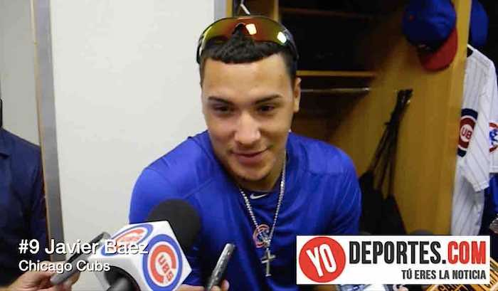 Javier Baez de Chicago Cubs antes de su debut en el Wrigley Field el viernes 8 de agosto de 2014.