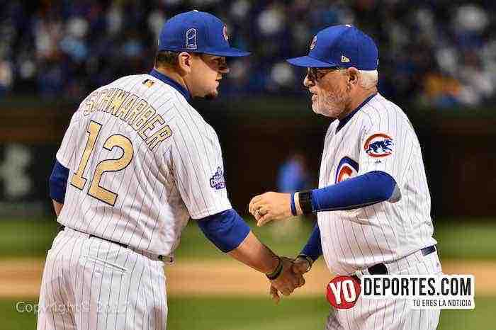 Joe Maddon-Kyle Schwarber-Chicago Cubs Wrigley Field-Opening Night