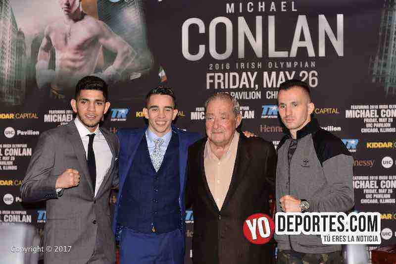 "Alex ""El Cholo"" Saucedo, Michael Conlan y Bob Arum de Top Rank en Chicago"