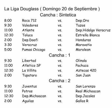 Horarios para este domingo de playoffs en la Liga Douglas