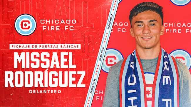 Chicago Fire FC Ficha al delantero Missael Rodríguez de las Fuerzas Básicas